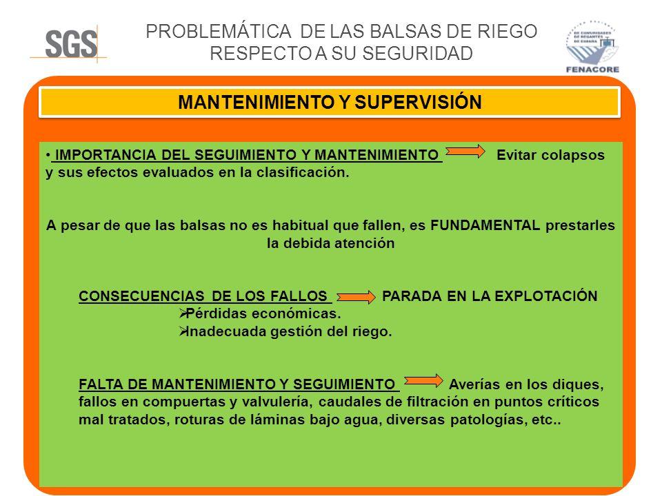 PROBLEMÁTICA DE LAS BALSAS DE RIEGO RESPECTO A SU SEGURIDAD MANTENIMIENTO Y SUPERVISIÓN IMPORTANCIA DEL SEGUIMIENTO Y MANTENIMIENTO Evitar colapsos y