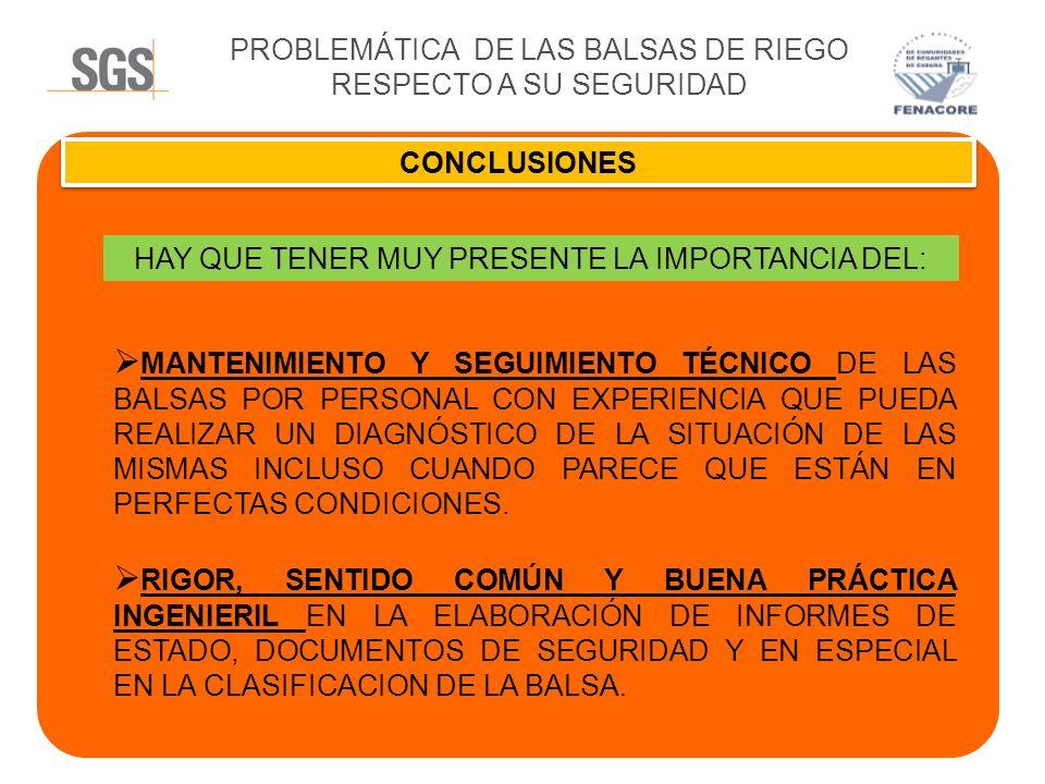 PROBLEMÁTICA DE LAS BALSAS DE RIEGO RESPECTO A SU SEGURIDAD CONCLUSIONES HAY QUE TENER MUY PRESENTE LA IMPORTANCIA DEL: MANTENIMIENTO Y SEGUIMIENTO TÉ