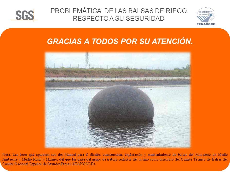 PROBLEMÁTICA DE LAS BALSAS DE RIEGO RESPECTO A SU SEGURIDAD MANTENIMIENTO Y SEGUIMIENTO TÉCNICO DE LAS BALSAS POR PERSONALCON EXPERIENCIA. RIGOR, SENT