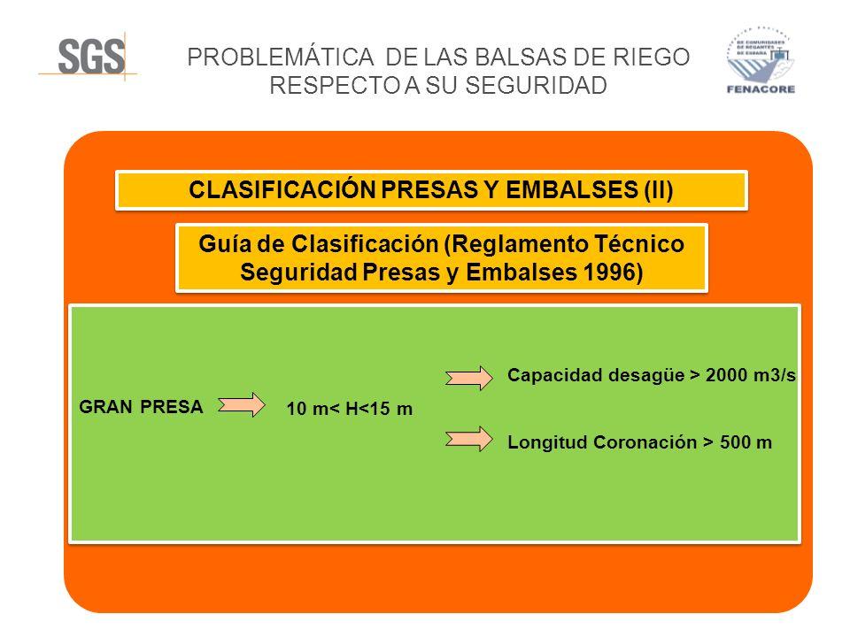PROBLEMÁTICA DE LAS BALSAS DE RIEGO RESPECTO A SU SEGURIDAD CLASIFICACIÓN PRESAS Y EMBALSES (II) Guía de Clasificación (Reglamento Técnico Seguridad P