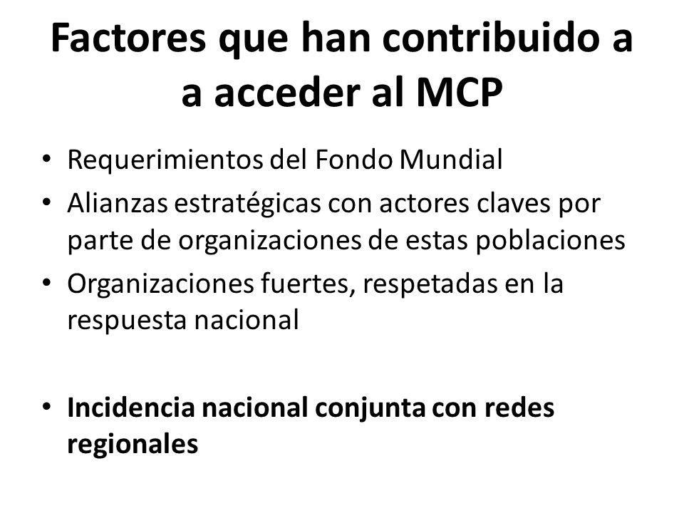 Factores que han contribuido a a acceder al MCP Requerimientos del Fondo Mundial Alianzas estratégicas con actores claves por parte de organizaciones de estas poblaciones Organizaciones fuertes, respetadas en la respuesta nacional Incidencia nacional conjunta con redes regionales