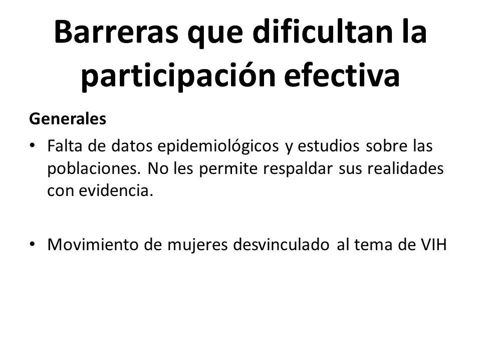Barreras que dificultan la participación efectiva Generales Falta de datos epidemiológicos y estudios sobre las poblaciones. No les permite respaldar