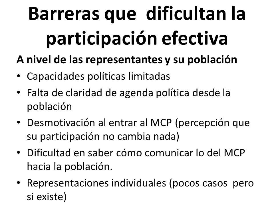 Barreras que dificultan la participación efectiva A nivel de las representantes y su población Capacidades políticas limitadas Falta de claridad de ag