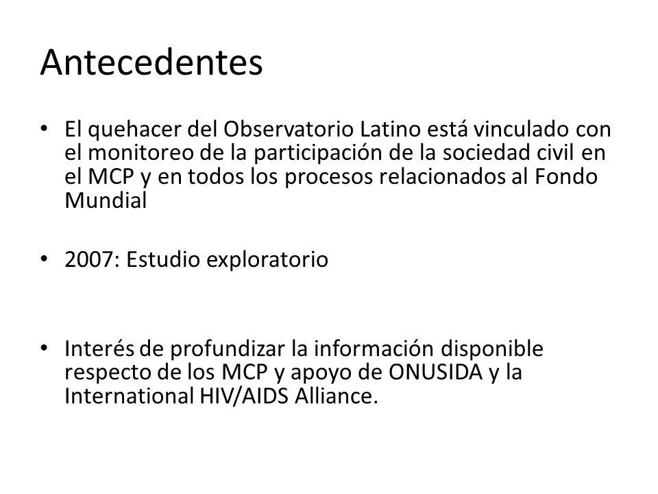 Antecedentes El quehacer del Observatorio Latino está vinculado con el monitoreo de la participación de la sociedad civil en el MCP y en todos los procesos relacionados al Fondo Mundial 2007: Estudio exploratorio Interés de profundizar la información disponible respecto de los MCP y apoyo de ONUSIDA y la International HIV/AIDS Alliance.