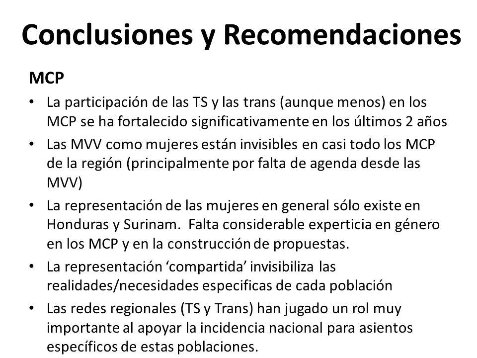 Conclusiones y Recomendaciones MCP La participación de las TS y las trans (aunque menos) en los MCP se ha fortalecido significativamente en los último