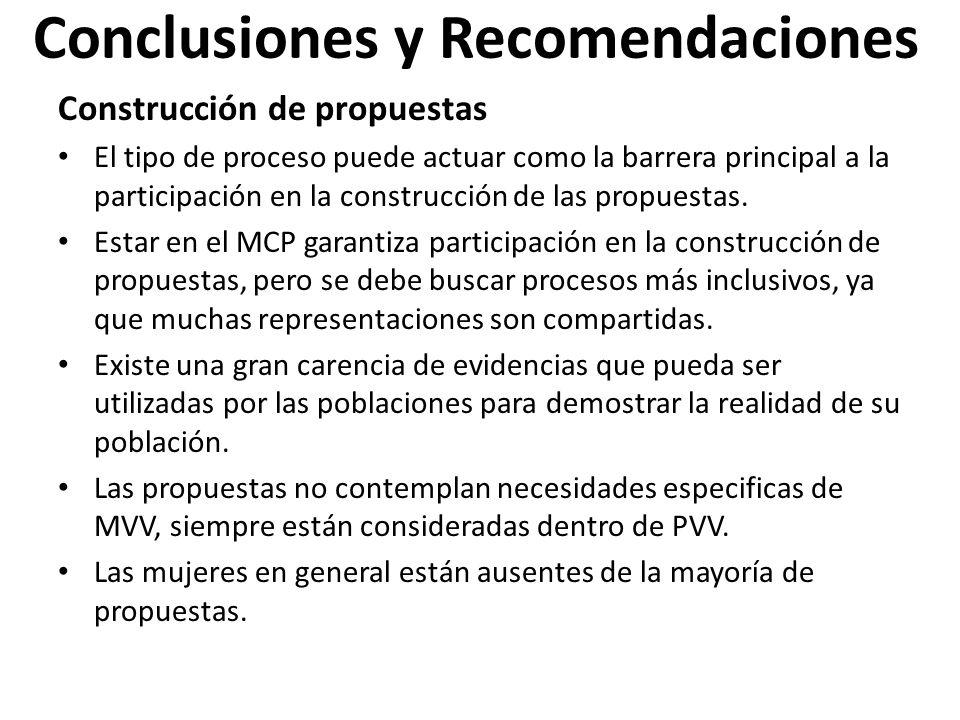 Conclusiones y Recomendaciones Construcción de propuestas El tipo de proceso puede actuar como la barrera principal a la participación en la construcción de las propuestas.