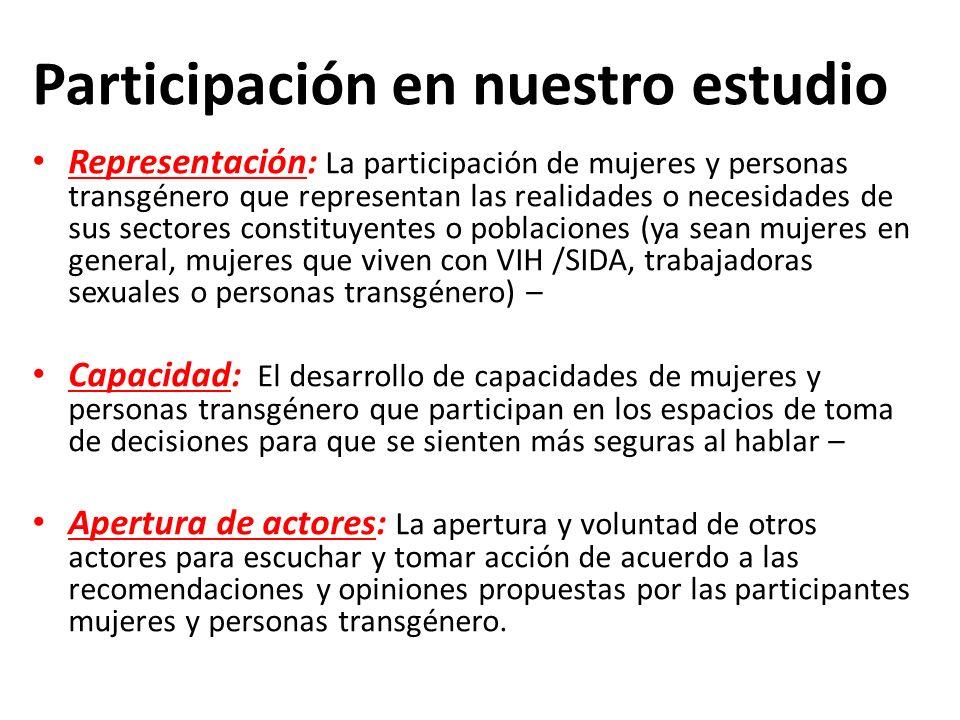 Participación en nuestro estudio Representación: La participación de mujeres y personas transgénero que representan las realidades o necesidades de su