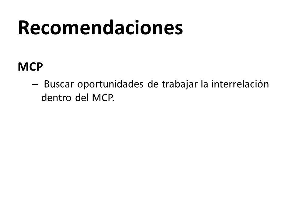 Recomendaciones MCP – Buscar oportunidades de trabajar la interrelación dentro del MCP.