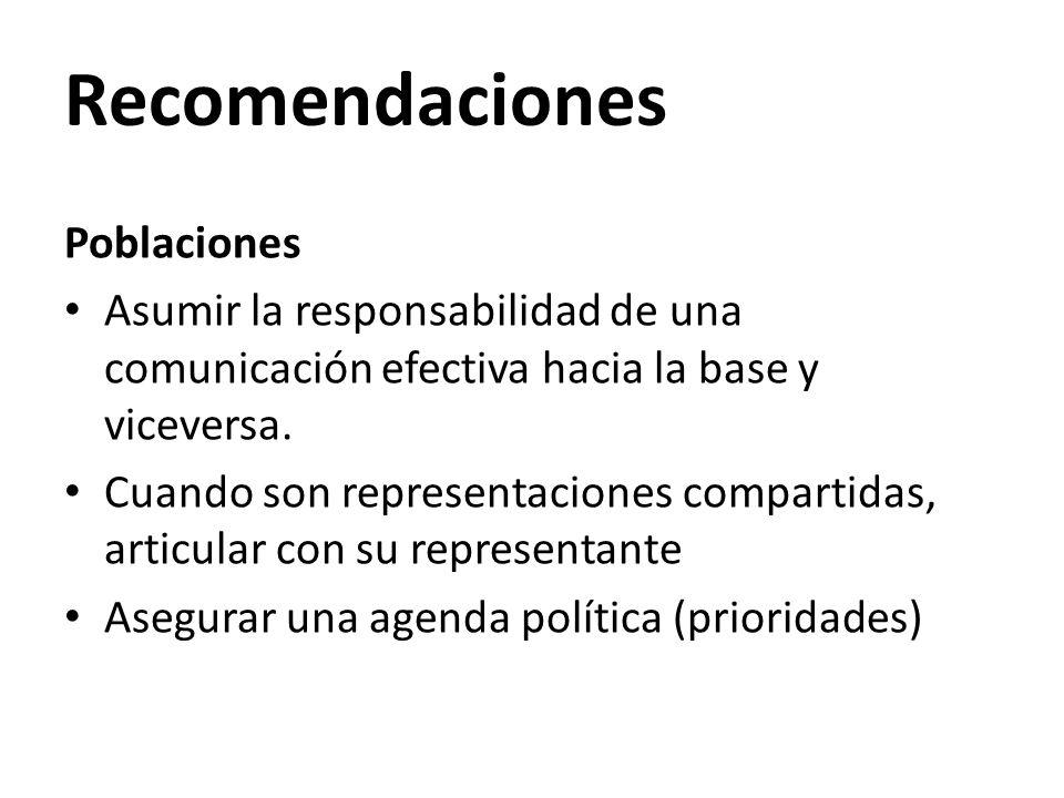 Recomendaciones Poblaciones Asumir la responsabilidad de una comunicación efectiva hacia la base y viceversa. Cuando son representaciones compartidas,