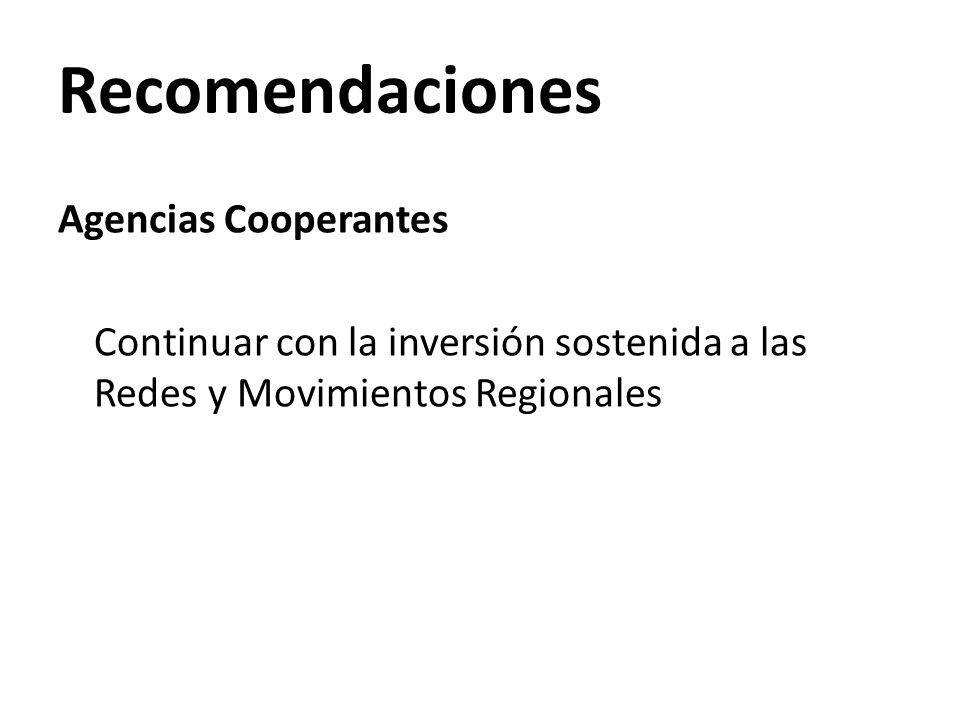 Recomendaciones Agencias Cooperantes Continuar con la inversión sostenida a las Redes y Movimientos Regionales