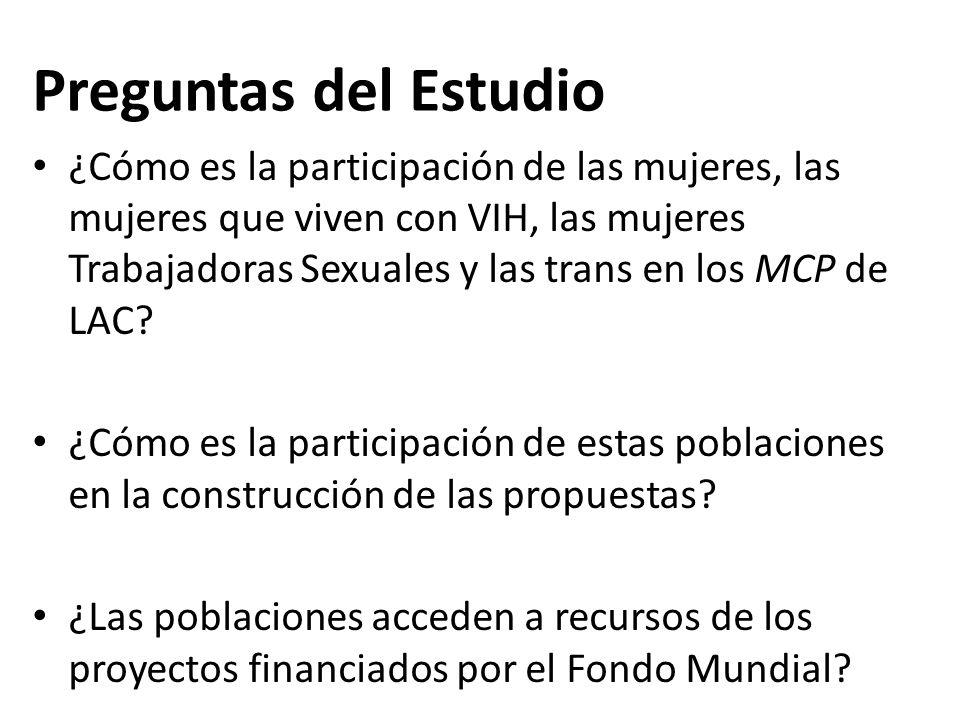 Preguntas del Estudio ¿Cómo es la participación de las mujeres, las mujeres que viven con VIH, las mujeres Trabajadoras Sexuales y las trans en los MCP de LAC.