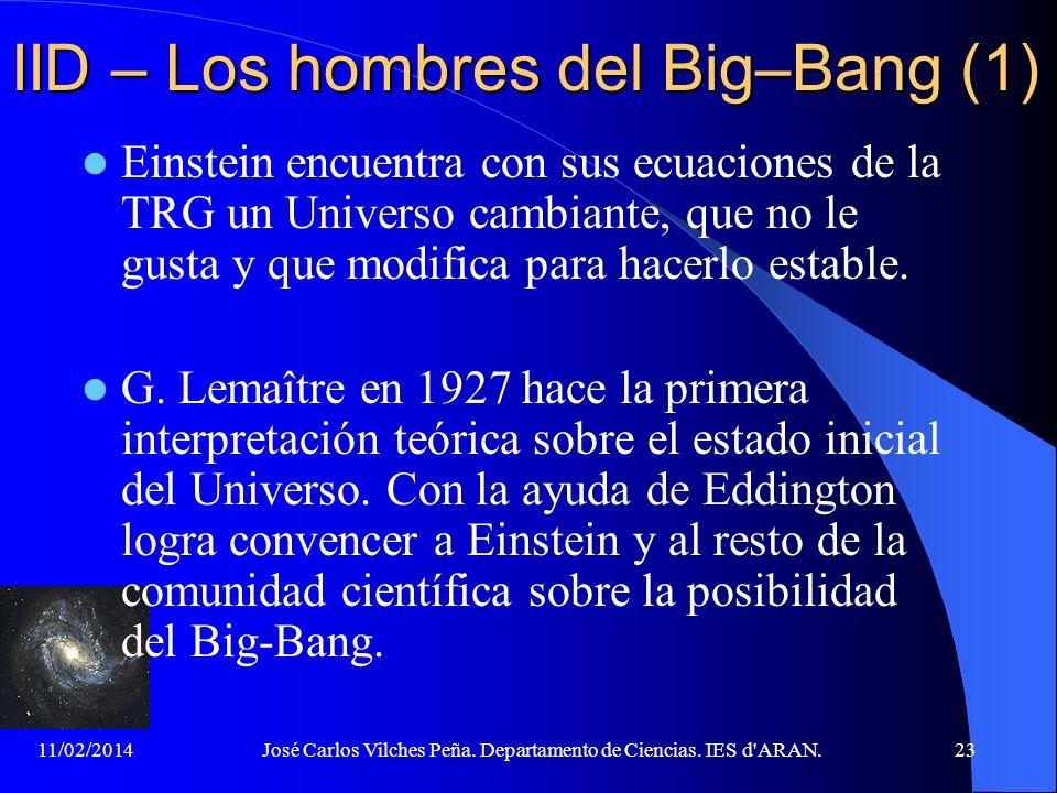 11/02/2014José Carlos Vilches Peña. Departamento de Ciencias. IES d'ARAN.22 IID – Cómo empezó todo Si hemos calculado la edad del Universo, debemos ac