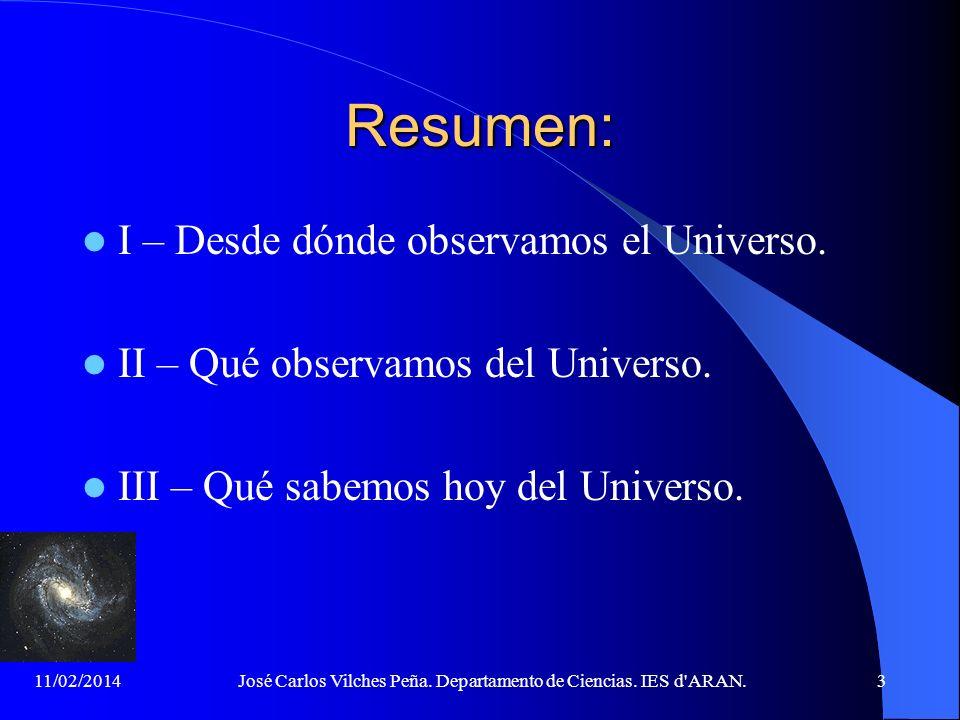 11/02/2014José Carlos Vilches Peña. Departamento de Ciencias. IES d'ARAN.2 La Cosmología actual... Intenta comprender cómo es el mundo material que no