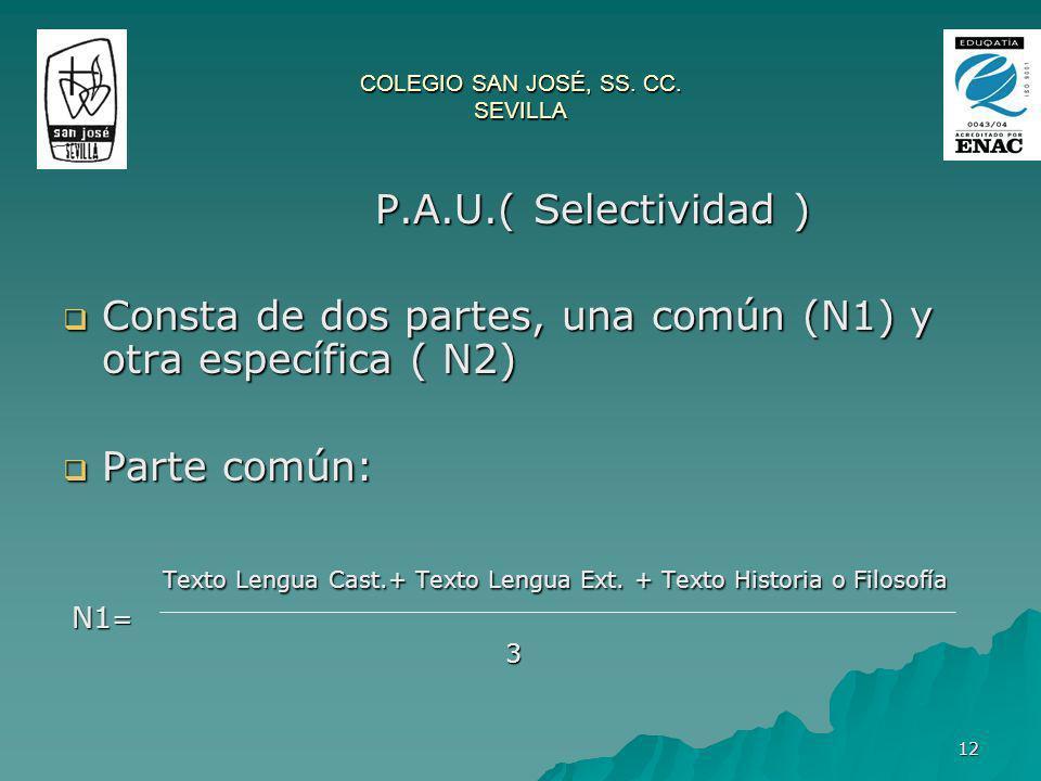 12 P.A.U.( Selectividad ) Consta de dos partes, una común (N1) y otra específica ( N2) Consta de dos partes, una común (N1) y otra específica ( N2) Pa