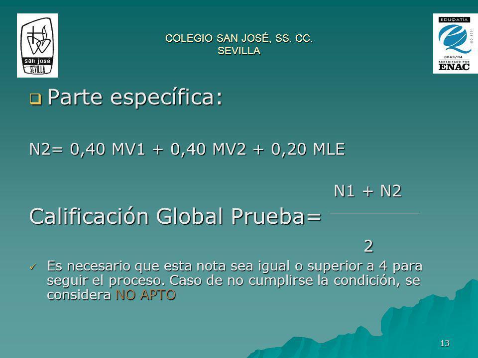 13 Parte específica: Parte específica: N2= 0,40 MV1 + 0,40 MV2 + 0,20 MLE N1 + N2 N1 + N2 Calificación Global Prueba= 2 2 Es necesario que esta nota s