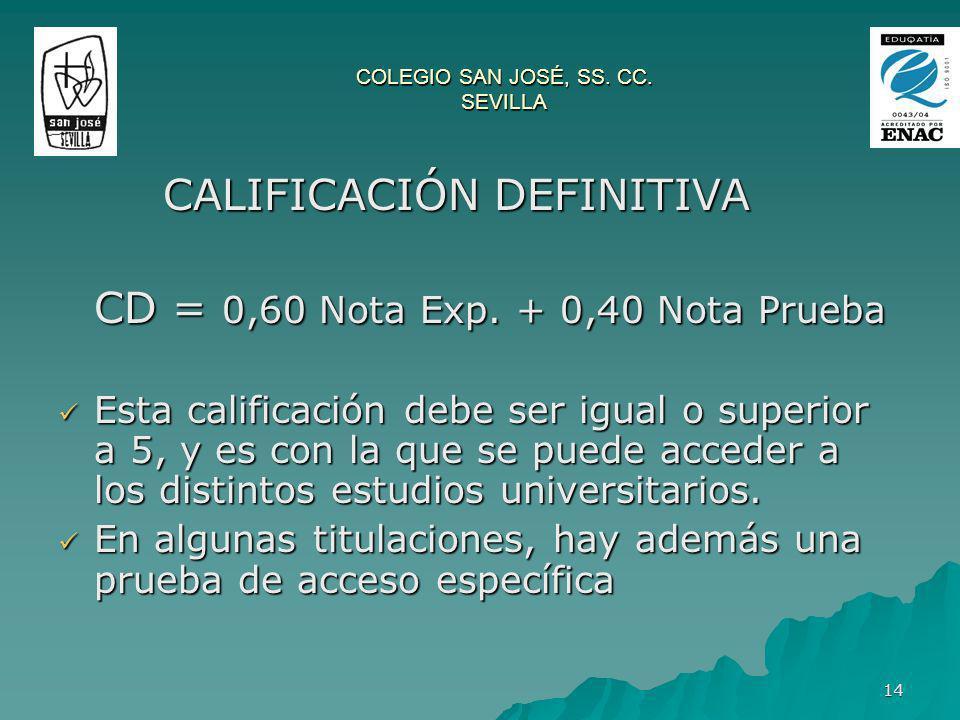 14 CALIFICACIÓN DEFINITIVA CALIFICACIÓN DEFINITIVA CD = 0,60 Nota Exp. + 0,40 Nota Prueba Esta calificación debe ser igual o superior a 5, y es con la