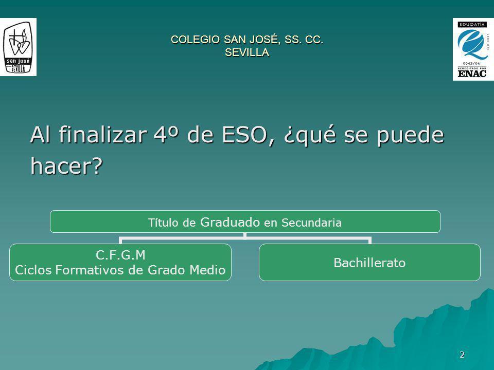 2 COLEGIO SAN JOSÉ, SS. CC. SEVILLA Al finalizar 4º de ESO, ¿qué se puede hacer? Título de Graduado en Secundaria C.F.G.M Ciclos Formativos de Grado M