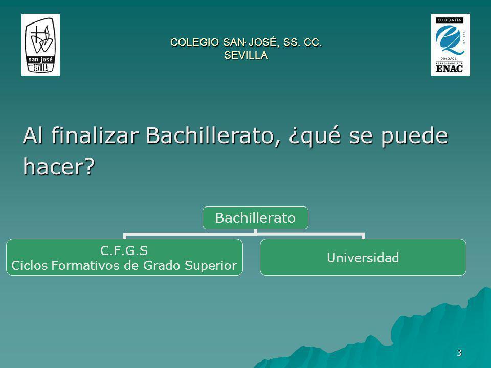 3 COLEGIO SAN JOSÉ, SS. CC. SEVILLA. Al finalizar Bachillerato, ¿qué se puede hacer? Bachillerato C.F.G.S Ciclos Formativos de Grado Superior Universi