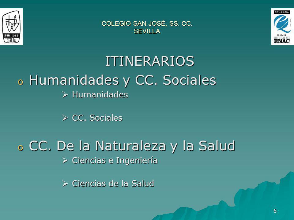 6 COLEGIO SAN JOSÉ, SS. CC. SEVILLA ITINERARIOS ITINERARIOS o Humanidades y CC. Sociales Humanidades Humanidades CC. Sociales CC. Sociales o CC. De la