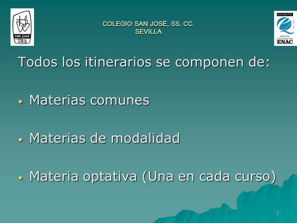 7 COLEGIO SAN JOSÉ, SS. CC. SEVILLA Todos los itinerarios se componen de: Materias comunes Materias comunes Materias de modalidad Materias de modalida