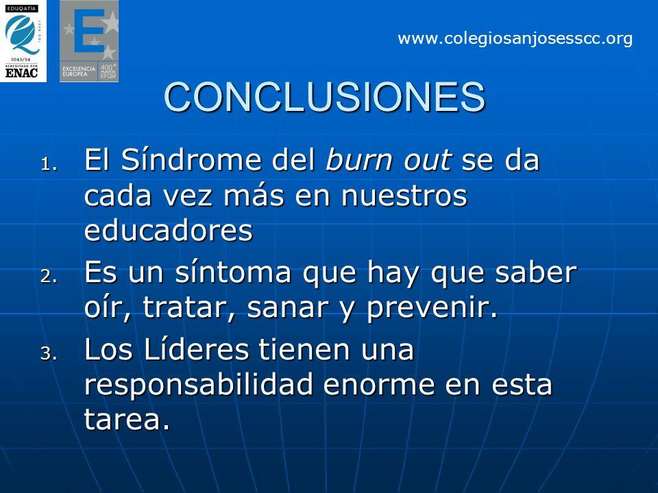 CONCLUSIONES 1. El Síndrome del burn out se da cada vez más en nuestros educadores 2. Es un síntoma que hay que saber oír, tratar, sanar y prevenir. 3