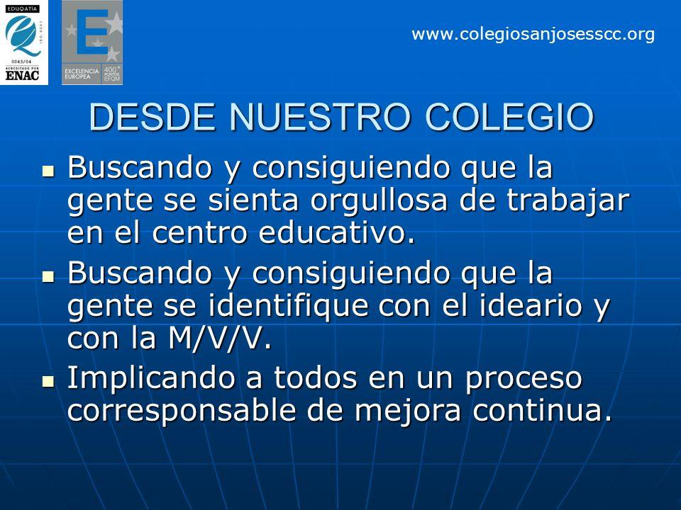 DESDE NUESTRO COLEGIO Buscando y consiguiendo que la gente se sienta orgullosa de trabajar en el centro educativo. Buscando y consiguiendo que la gent