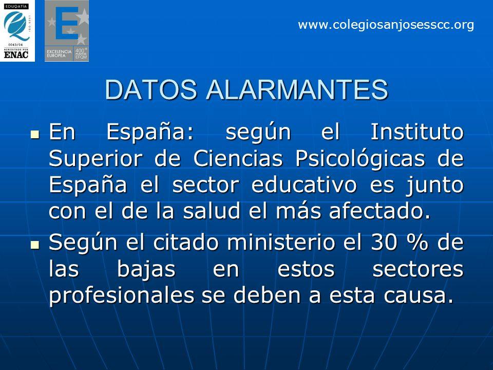 DATOS ALARMANTES En España: según el Instituto Superior de Ciencias Psicológicas de España el sector educativo es junto con el de la salud el más afectado.