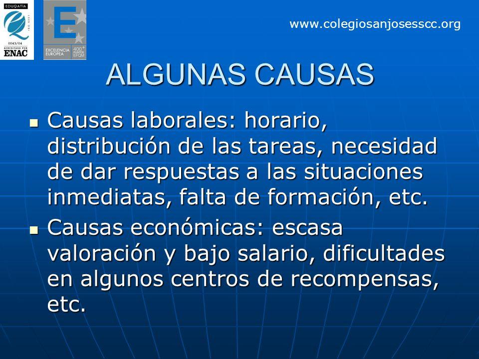 ALGUNAS CAUSAS Causas laborales: horario, distribución de las tareas, necesidad de dar respuestas a las situaciones inmediatas, falta de formación, etc.