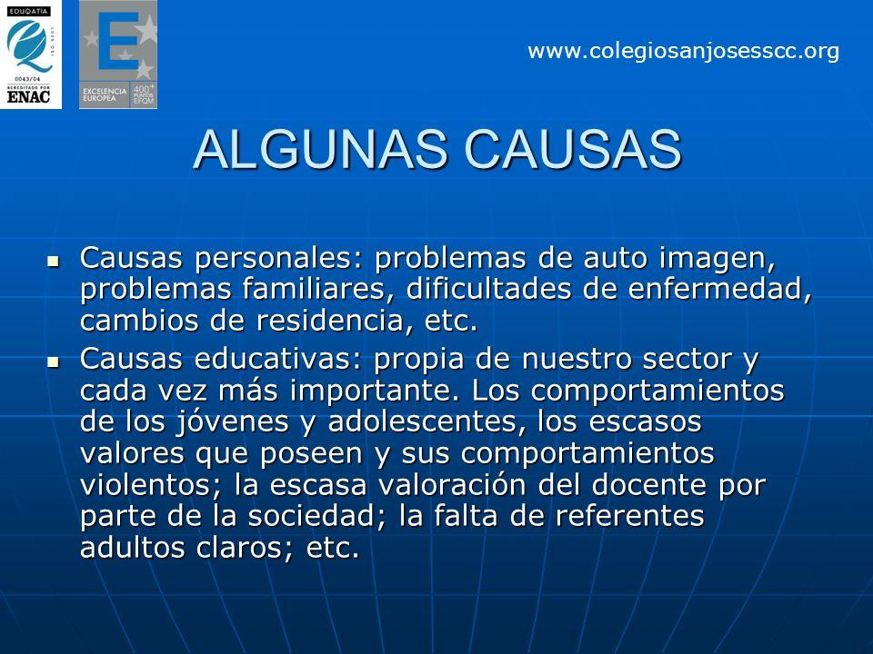ALGUNAS CAUSAS Causas personales: problemas de auto imagen, problemas familiares, dificultades de enfermedad, cambios de residencia, etc. Causas perso