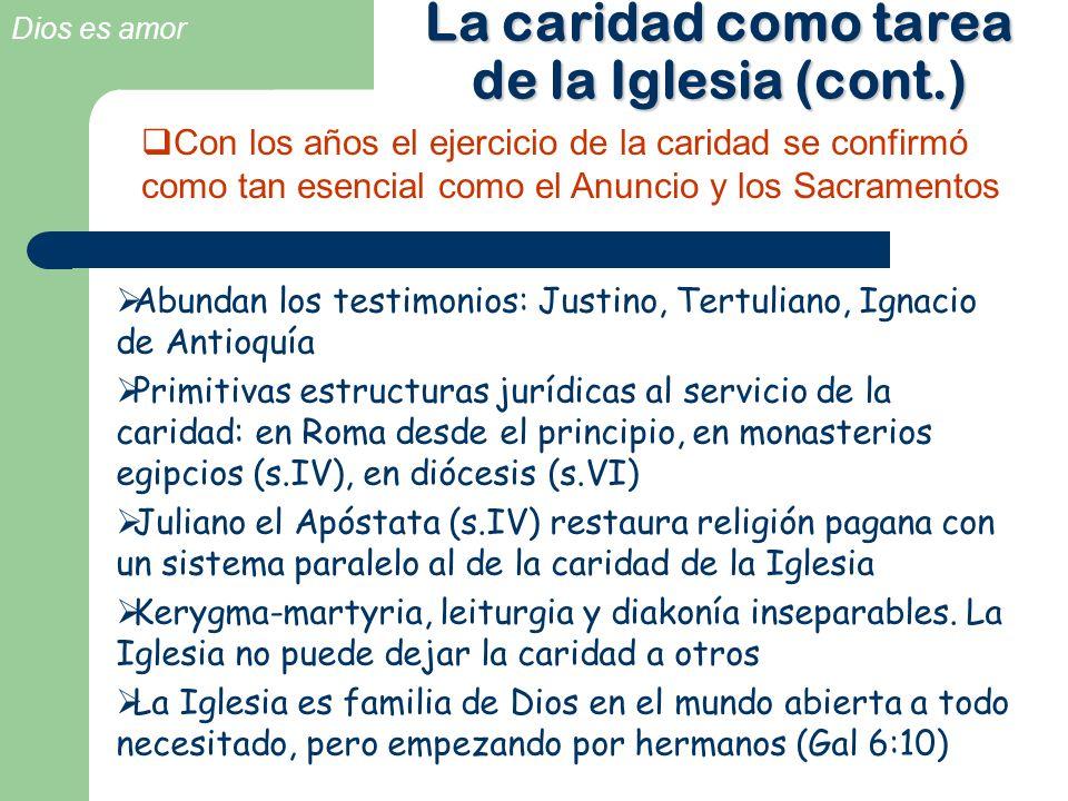 Dios es amor La caridad como tarea de la Iglesia (cont.) Abundan los testimonios: Justino, Tertuliano, Ignacio de Antioquía Primitivas estructuras jur