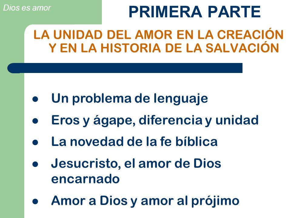 Dios es amor PRIMERA PARTE LA UNIDAD DEL AMOR EN LA CREACIÓN Y EN LA HISTORIA DE LA SALVACIÓN Un problema de lenguaje Eros y ágape, diferencia y unida