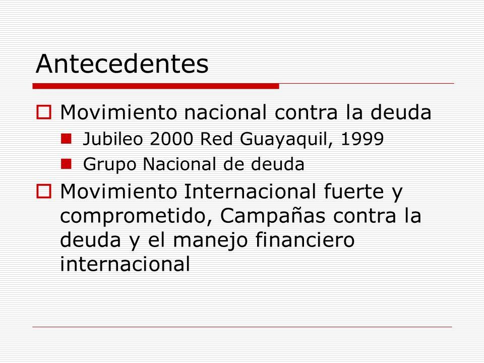 Antecedentes Movimiento nacional contra la deuda Jubileo 2000 Red Guayaquil, 1999 Grupo Nacional de deuda Movimiento Internacional fuerte y comprometi