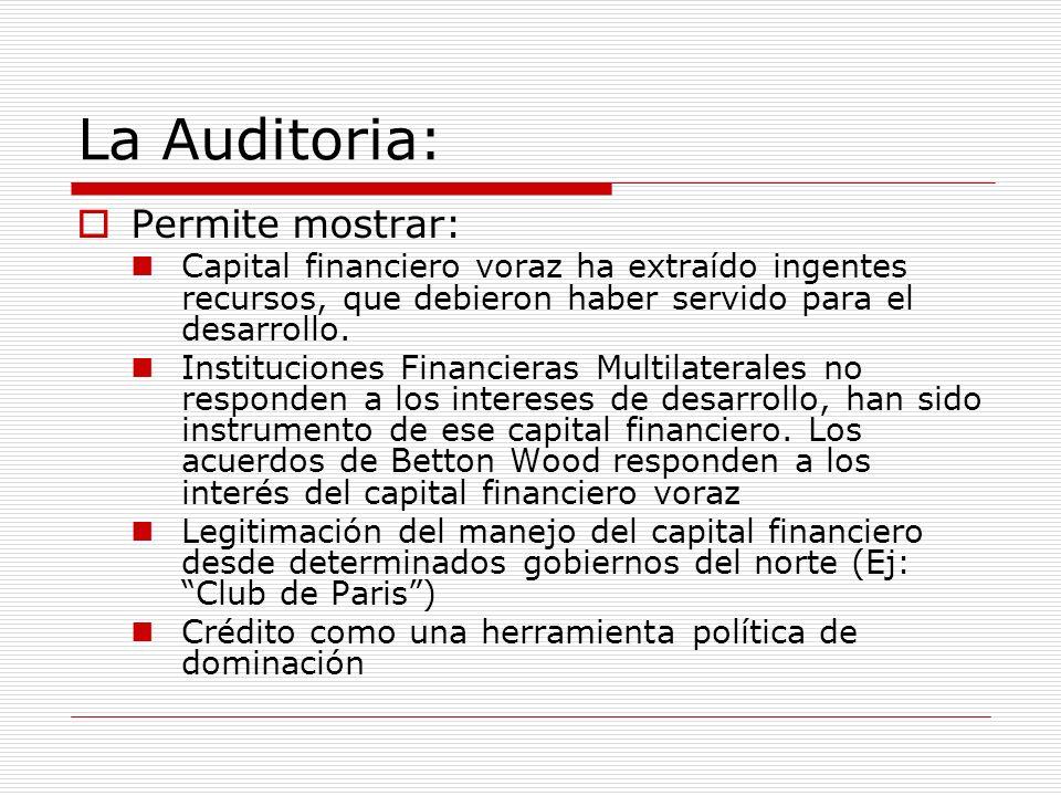La Auditoria: Permite mostrar: Capital financiero voraz ha extraído ingentes recursos, que debieron haber servido para el desarrollo. Instituciones Fi