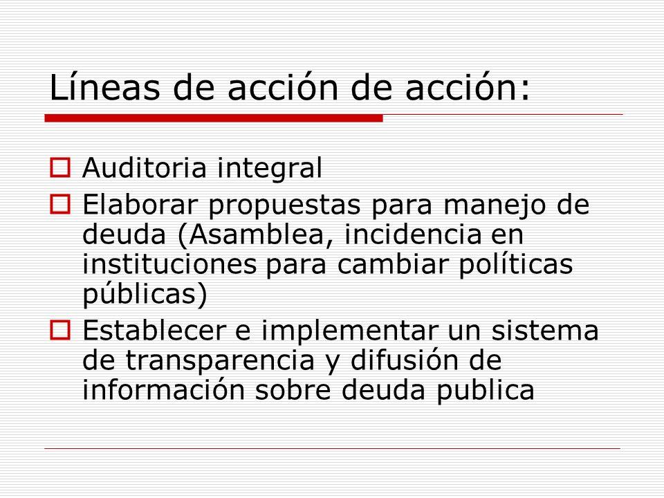 Líneas de acción de acción: Auditoria integral Elaborar propuestas para manejo de deuda (Asamblea, incidencia en instituciones para cambiar políticas públicas) Establecer e implementar un sistema de transparencia y difusión de información sobre deuda publica