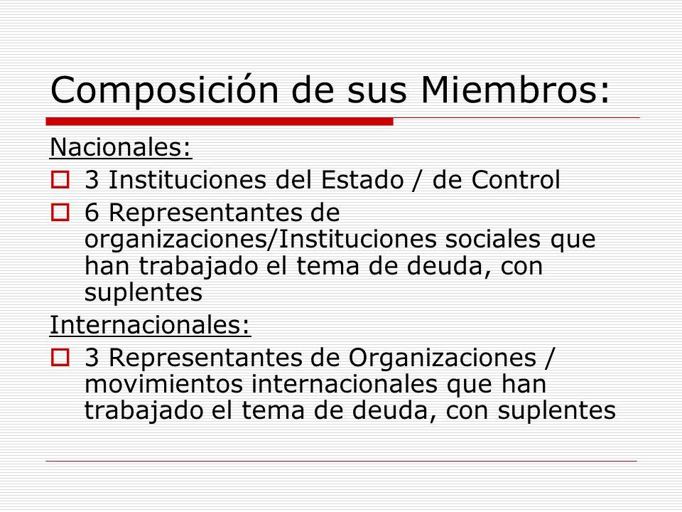 Composición de sus Miembros: Nacionales: 3 Instituciones del Estado / de Control 6 Representantes de organizaciones/Instituciones sociales que han trabajado el tema de deuda, con suplentes Internacionales: 3 Representantes de Organizaciones / movimientos internacionales que han trabajado el tema de deuda, con suplentes