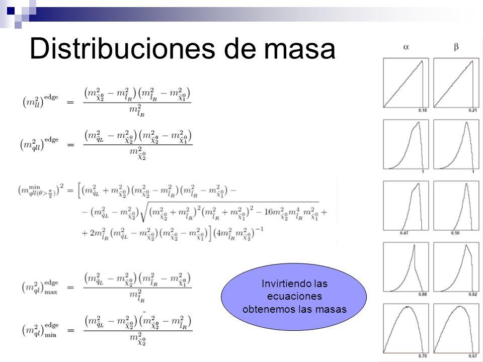 Distribuciones de masa Invirtiendo las ecuaciones obtenemos las masas