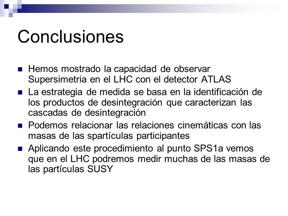 Conclusiones Hemos mostrado la capacidad de observar Supersimetria en el LHC con el detector ATLAS La estrategia de medida se basa en la identificación de los productos de desintegración que caracterizan las cascadas de desintegración Podemos relacionar las relaciones cinemáticas con las masas de las spartículas participantes Aplicando este procedimiento al punto SPS1a vemos que en el LHC podremos medir muchas de las masas de las partículas SUSY