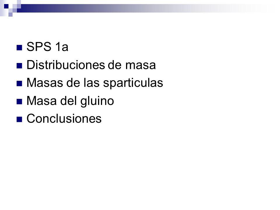 SPS 1a Distribuciones de masa Masas de las sparticulas Masa del gluino Conclusiones