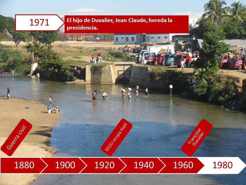 188019001920194019601980 El hijo de Duvalier, Jean Claude, hereda la presidencia.