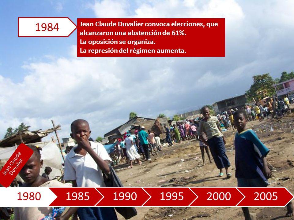 198019851990199520002005 Jean Claude Duvalier convoca elecciones, que alcanzaron una abstención de 61%.