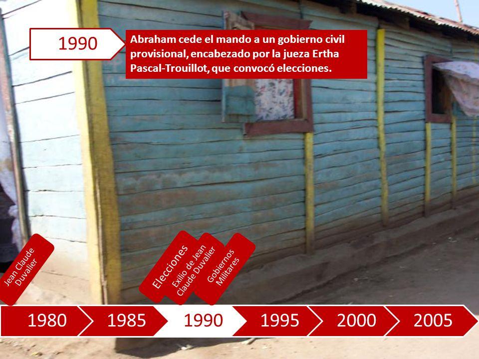 198019851990199520002005 Abraham cede el mando a un gobierno civil provisional, encabezado por la jueza Ertha Pascal-Trouillot, que convocó elecciones.