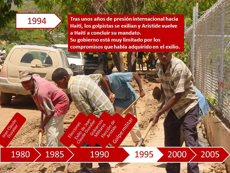 198019851990199520002005 Tras unos años de presión internacional hacia Haití, los golpistas se exilian y Aristide vuelve a Haití a concluir su mandato.