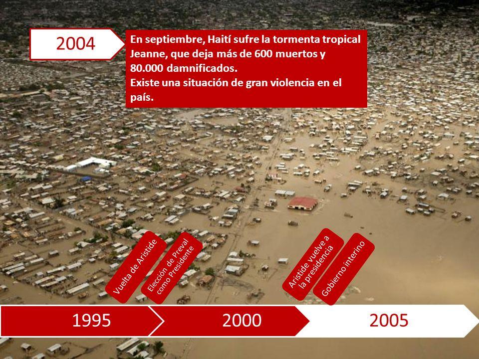 199520002005 En septiembre, Haití sufre la tormenta tropical Jeanne, que deja más de 600 muertos y 80.000 damnificados.