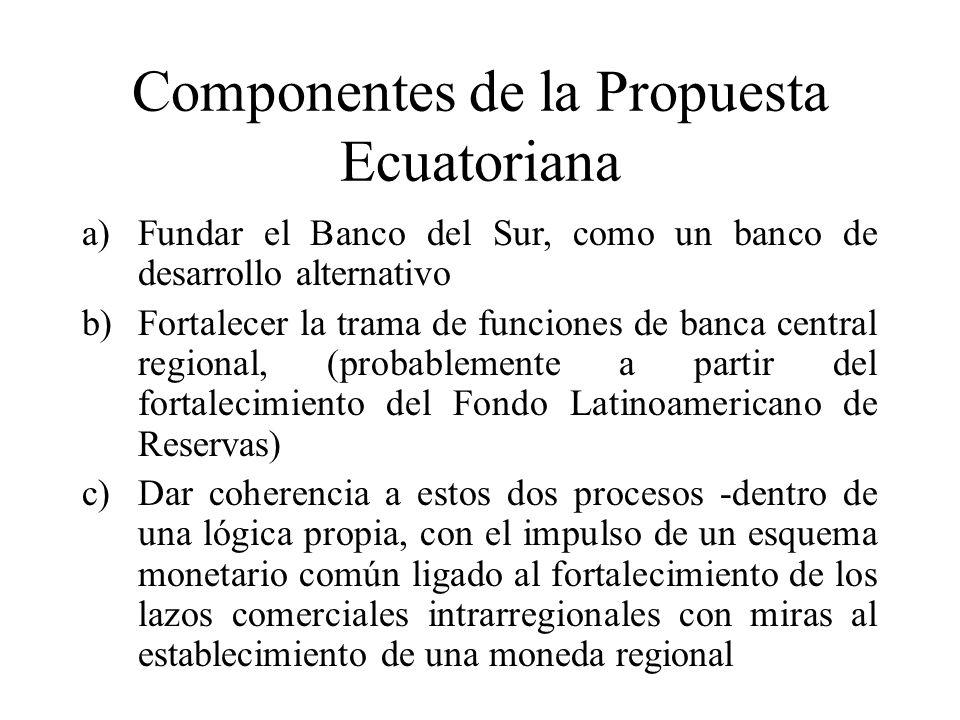 Componentes de la Propuesta Ecuatoriana a)Fundar el Banco del Sur, como un banco de desarrollo alternativo b)Fortalecer la trama de funciones de banca central regional, (probablemente a partir del fortalecimiento del Fondo Latinoamericano de Reservas) c)Dar coherencia a estos dos procesos -dentro de una lógica propia, con el impulso de un esquema monetario común ligado al fortalecimiento de los lazos comerciales intrarregionales con miras al establecimiento de una moneda regional