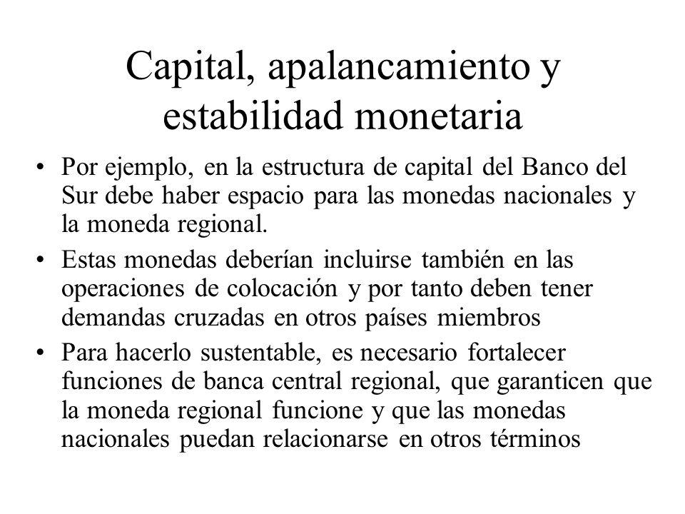 Capital, apalancamiento y estabilidad monetaria Por ejemplo, en la estructura de capital del Banco del Sur debe haber espacio para las monedas nacionales y la moneda regional.