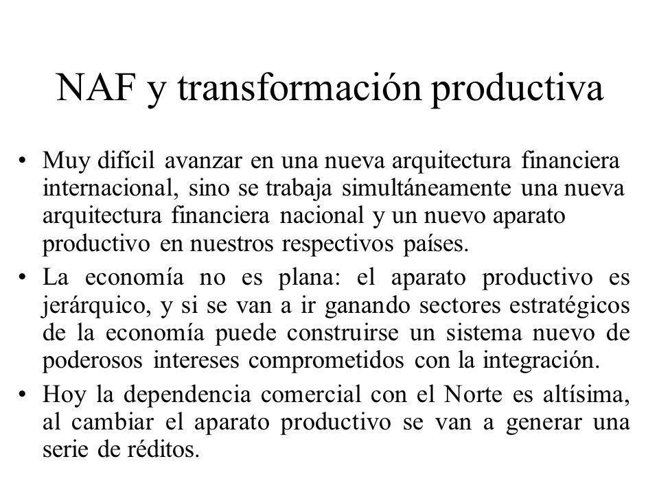 NAF y transformación productiva Muy difícil avanzar en una nueva arquitectura financiera internacional, sino se trabaja simultáneamente una nueva arquitectura financiera nacional y un nuevo aparato productivo en nuestros respectivos países.