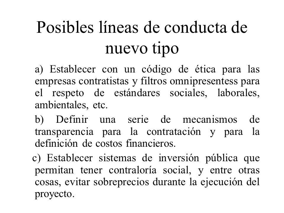 Posibles líneas de conducta de nuevo tipo a) Establecer con un código de ética para las empresas contratistas y filtros omnipresentess para el respeto de estándares sociales, laborales, ambientales, etc.