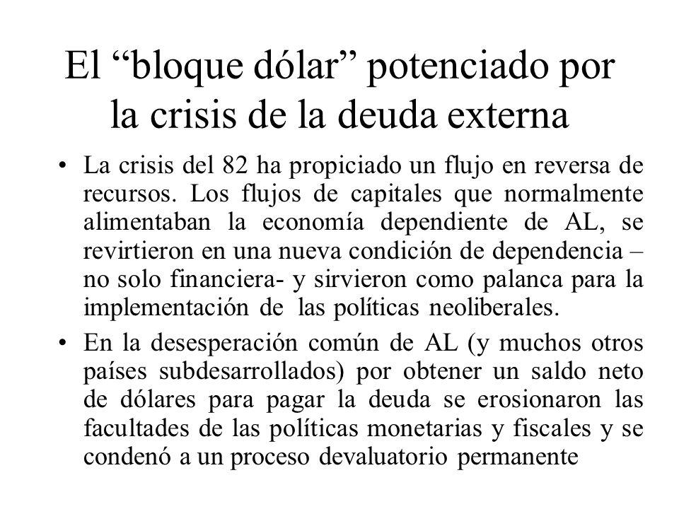 El bloque dólar potenciado por la crisis de la deuda externa La crisis del 82 ha propiciado un flujo en reversa de recursos.