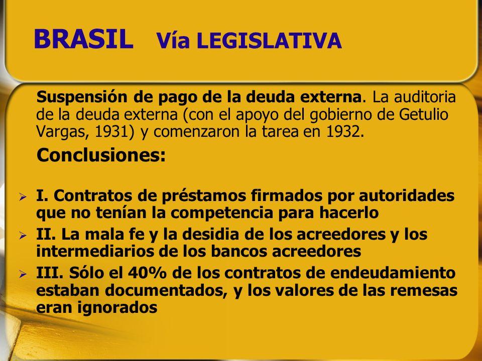 BRASIL Vía LEGISLATIVA Suspensión de pago de la deuda externa. La auditoria de la deuda externa (con el apoyo del gobierno de Getulio Vargas, 1931) y