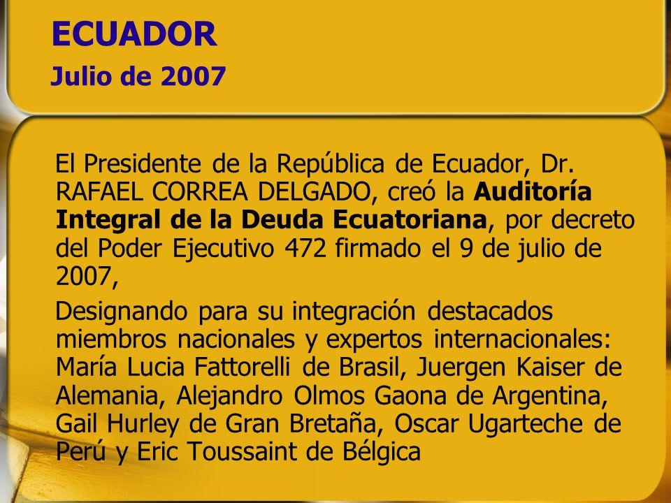 ECUADOR Julio de 2007 El Presidente de la República de Ecuador, Dr. RAFAEL CORREA DELGADO, creó la Auditoría Integral de la Deuda Ecuatoriana, por dec